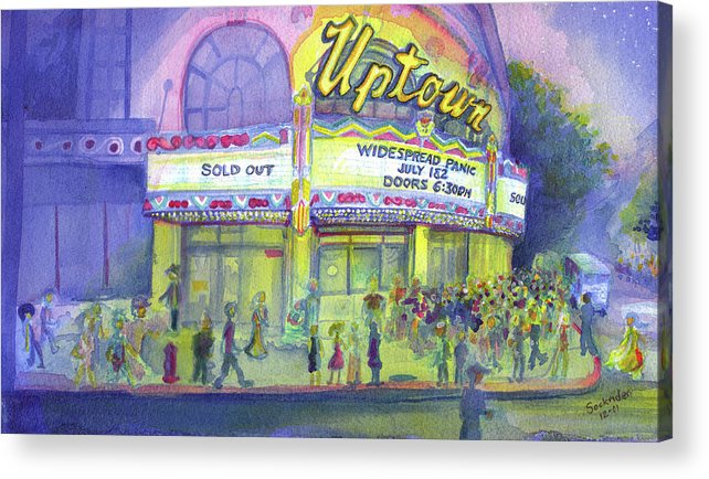 Widespread Panic Acrylic Print featuring the painting Widespread Panic Uptown Theatre by David Sockrider