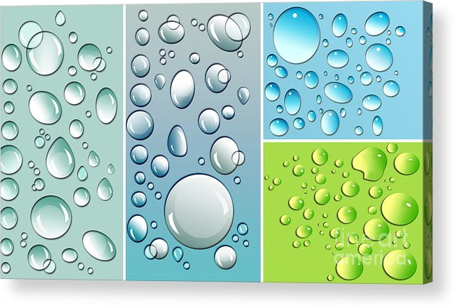 Abstract Acrylic Print featuring the digital art Different Size Droplets On Colored Surface by Sandra Cunningham
