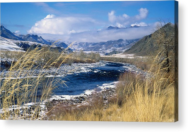 East Siberia; Eatern Siberia; Siberia; Autumn; Fall; Landscape; Mountainous; Mountains; Nature; Nobody; Outdoors; Outside; River; Rivers; Water Acrylic Print featuring the photograph Tuva by Anonymous