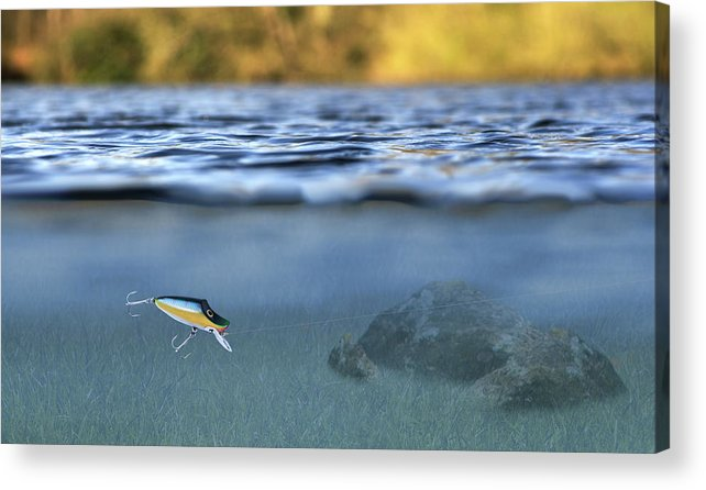 Lure In Use Acrylic Print featuring the photograph Fishing Lure In Use by Meirion Matthias