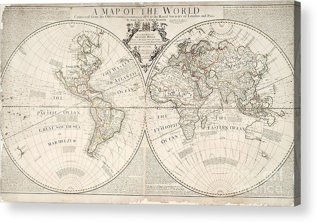 Map Acrylic Print featuring the painting A Map Of The World by John Senex