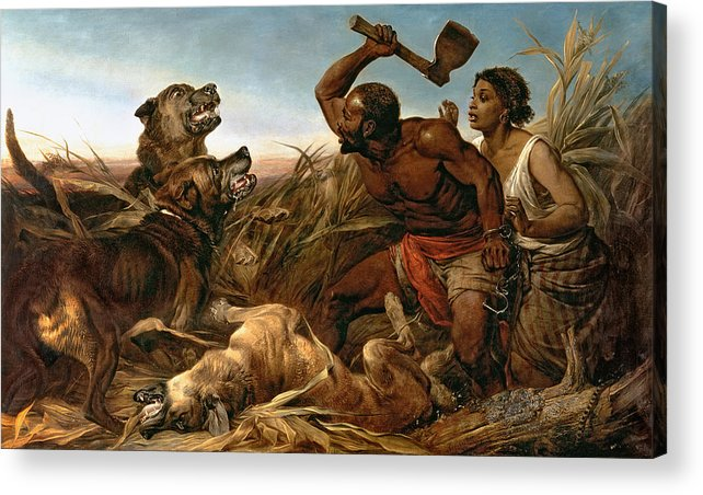 The Hunted Slaves Acrylic Print featuring the painting The Hunted Slaves by Richard Ansdell