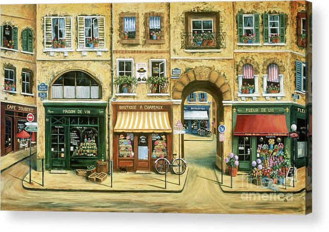 Wine Shop Acrylic Print featuring the painting Les Rues De Paris by Marilyn Dunlap
