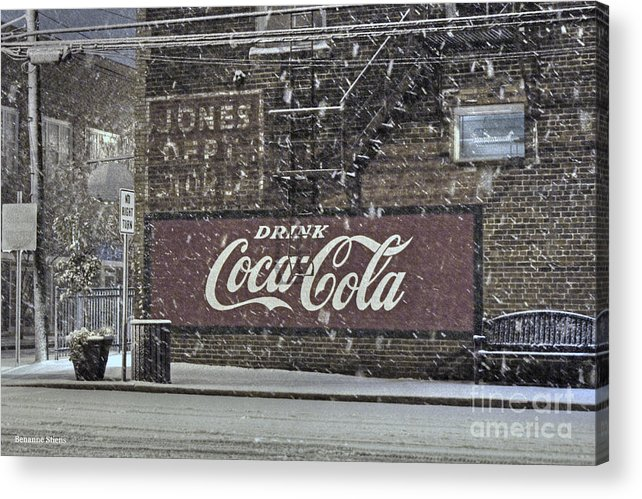 Mebane North Carolina Acrylic Print featuring the photograph Downtown Covered In Snow by Benanne Stiens