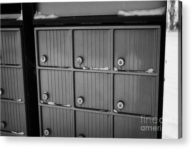 Canada Acrylic Print featuring the photograph canada post post mailboxes in rural small town Forget Saskatchewan Canada by Joe Fox