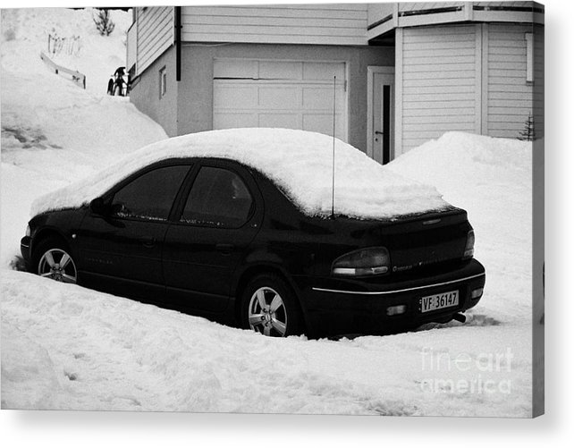 Car Acrylic Print featuring the photograph Car Buried In Snow Outside House In Honningsvag Norway Europe by Joe Fox