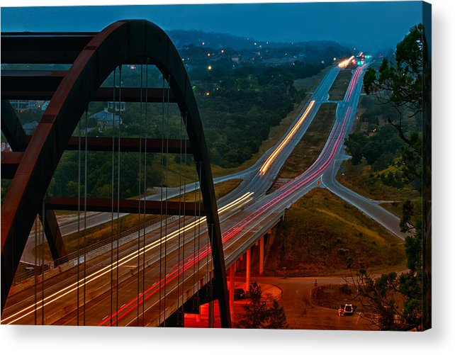 360 Bridge Acrylic Print featuring the photograph 360 Bridge Morning Traffic by Lisa Spencer