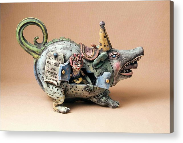 Pottery Teapot Animal Clay Fun Ceramic Acrylic Print featuring the ceramic art Free Ride by Kathleen Raven