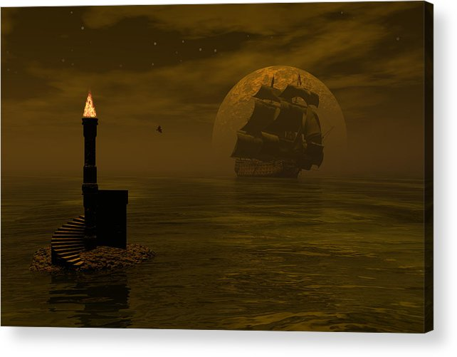 Windjammer Acrylic Print featuring the digital art Make For The Light by Claude McCoy