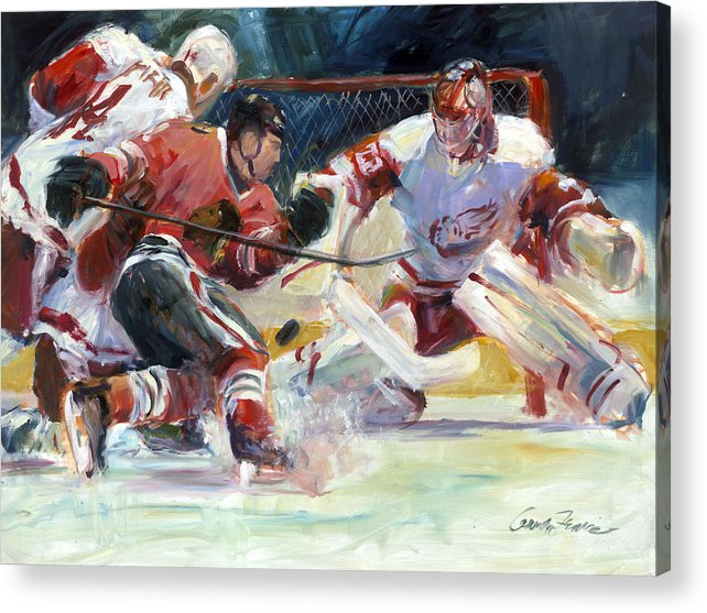 Sports Chicago Blackhawks Detroit Red Wings Hockey Goalmouth Action Acrylic Print featuring the painting Crashing The Net by Gordon France