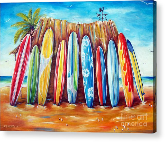 Surf Acrylic Print featuring the painting Off-shore by Deb Broughton