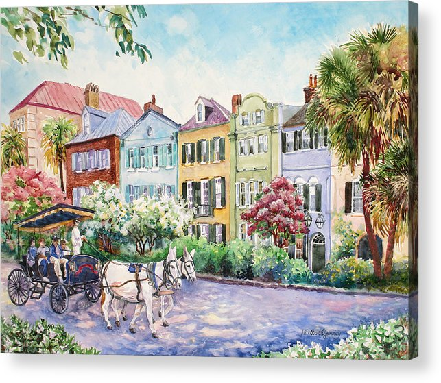 Charleston Acrylic Print featuring the painting Assault And Battery On Rainbow Row by Alice Grimsley