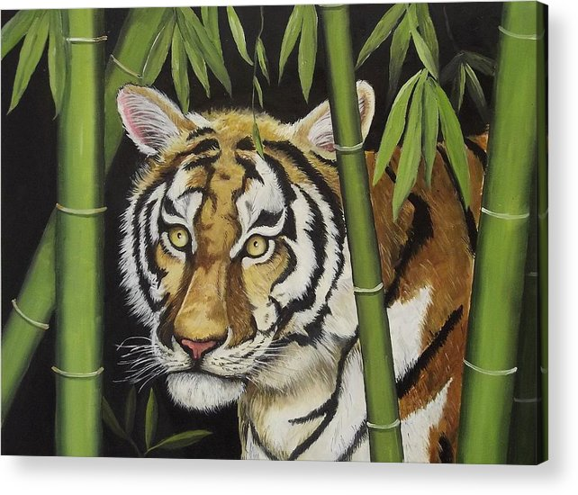 Tiger Acrylic Print featuring the painting Hiding In The Bamboo by Wanda Dansereau