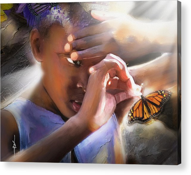Butterfly Acrylic Print featuring the painting My Little Butterfly by Bob Salo