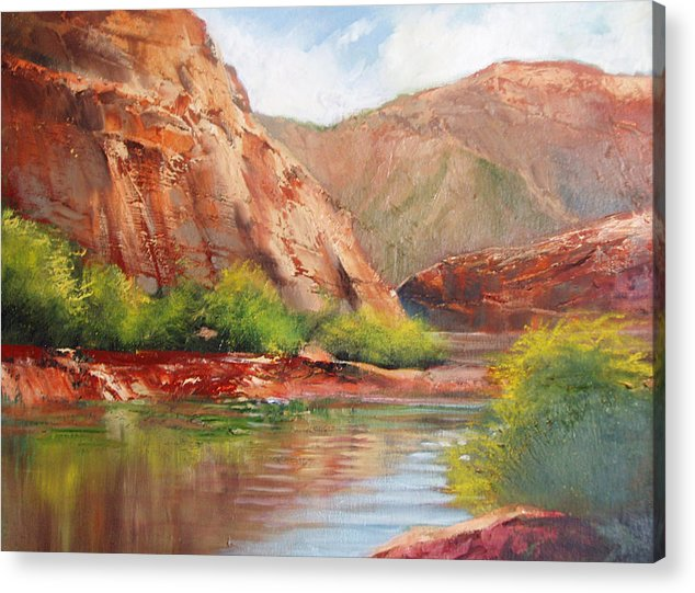 Landscape Acrylic Print featuring the painting Around The Bend by Robert Carver
