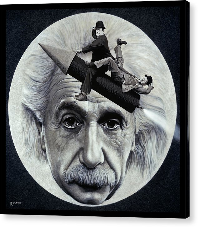 Einstein Acrylic Print featuring the painting Scientific Comedy by Ross Edwards