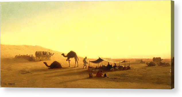 Arab; Encampment; Desert; Camp; Tent; Canopy; Camel; Camels; Dawn; Dusk; Morning; Evening; Sunrise; Sunset; Sundown; Golden; Glow; Nomad; Nomads; Nomadic; Traveller; Travellers; Travel; Camel; Train; Arab; Arabs; Arabian; Arid; Heat; Orientalist; Middle East; Middle Eastern; Sand; Dune; Dunes Acrylic Print featuring the painting An Arab Encampment by Charles Theodore Frere
