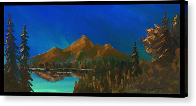 Mountain Acrylic Print featuring the painting My Kind Of Peace by Steven Lebron Langston