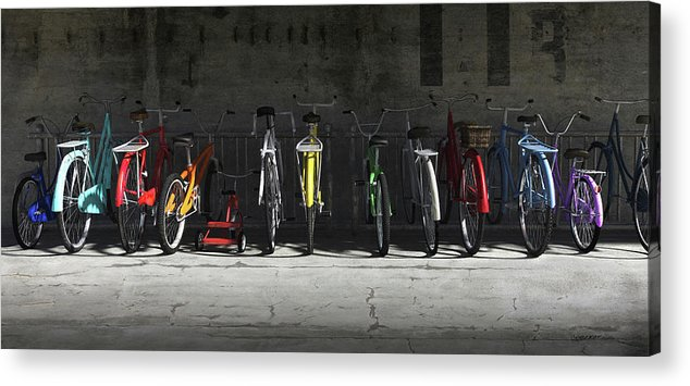Bicycle Acrylic Print featuring the digital art Bike Rack by Cynthia Decker