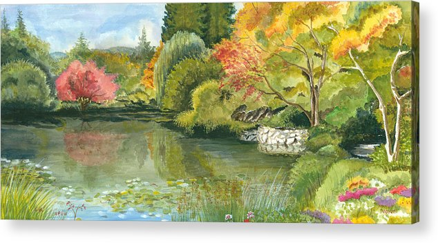 Acrylic Landscape Acrylic Print featuring the painting Fall Reflections Butchart Gardens by Vidyut Singhal