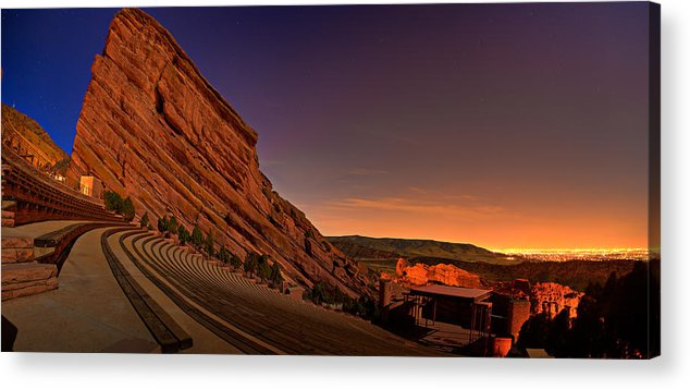 Night Acrylic Print featuring the photograph Red Rocks Amphitheatre At Night by James O Thompson