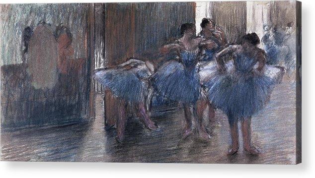 Dancers (pastel) By Edgar Degas (1834-1917) Acrylic Print featuring the painting Dancers by Edgar Degas