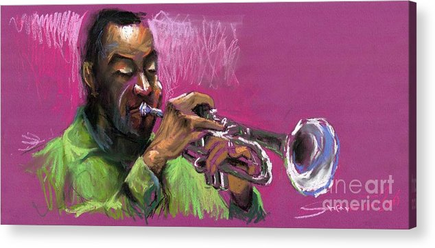 Jazz Acrylic Print featuring the painting Jazz Trumpeter by Yuriy Shevchuk