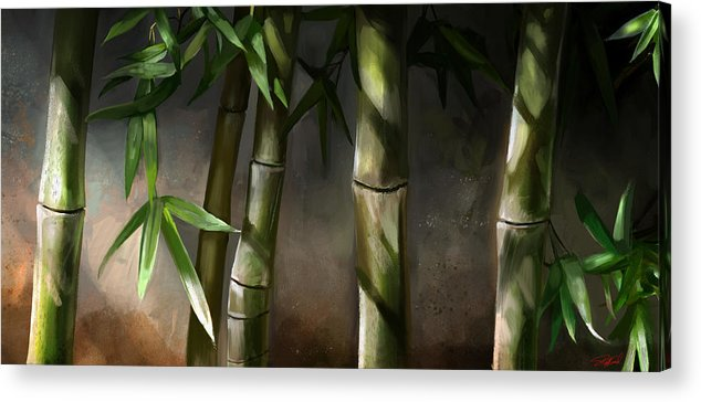 Bamboo Art Acrylic Print featuring the mixed media Bamboo Stalks by Steve Goad