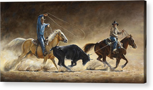 Cowboy Acrylic Print featuring the painting In The Money by Kim Lockman