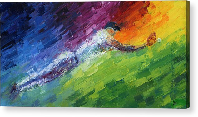 Oil Acrylic Print featuring the painting Top Ten Play Of The Day by Ash Hussein