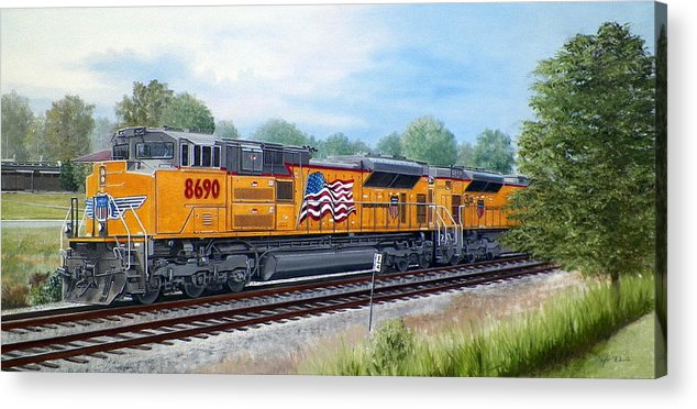 Art Acrylic Print featuring the painting Union Pacific 8690 by RB McGrath