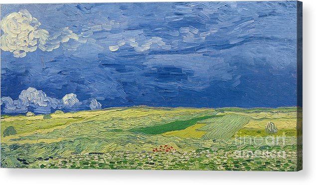 Field; Cloud; Sky; Landscape; Countryside; Post-impressionist; Auvers Sur Oise; French Acrylic Print featuring the painting Wheatfields Under Thunderclouds by Vincent Van Gogh