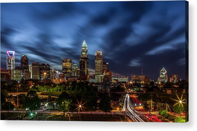 Charlotte Skyline Captured 04/13/12. Acrylic Print featuring the photograph Busy Charlotte Night by Chris Austin