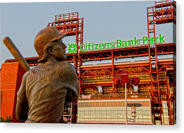 Phillies Acrylic Print featuring the photograph Philadelphia's Legend by Michael Misciagno