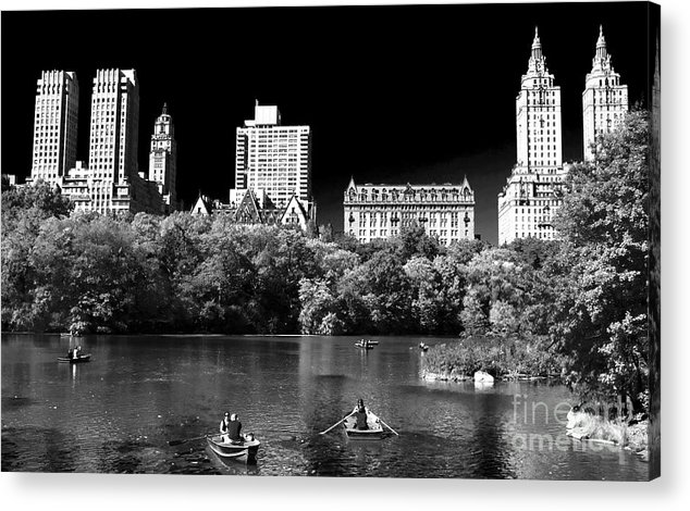 Rowing In Central Park Acrylic Print featuring the photograph Rowing In Central Park by John Rizzuto