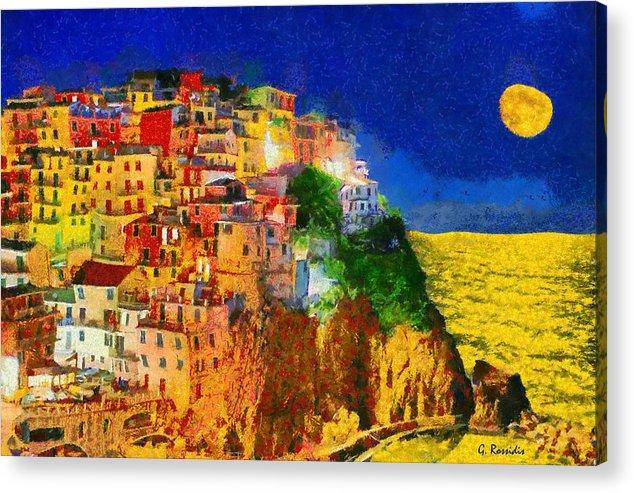 Rossidis Acrylic Print featuring the painting Manarola By Night by George Rossidis