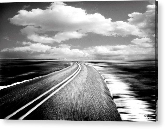 Black & White Acrylic Print featuring the photograph Highway Run by Scott Pellegrin