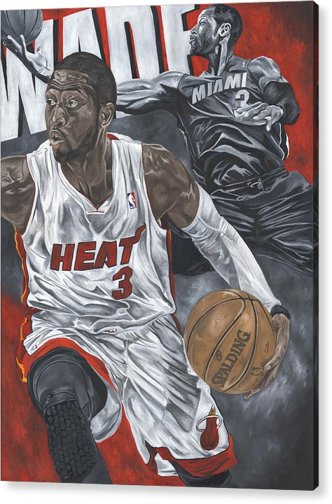 Dwyane Wade Painting Acrylic Print featuring the painting Dwyane Wade by David Courson