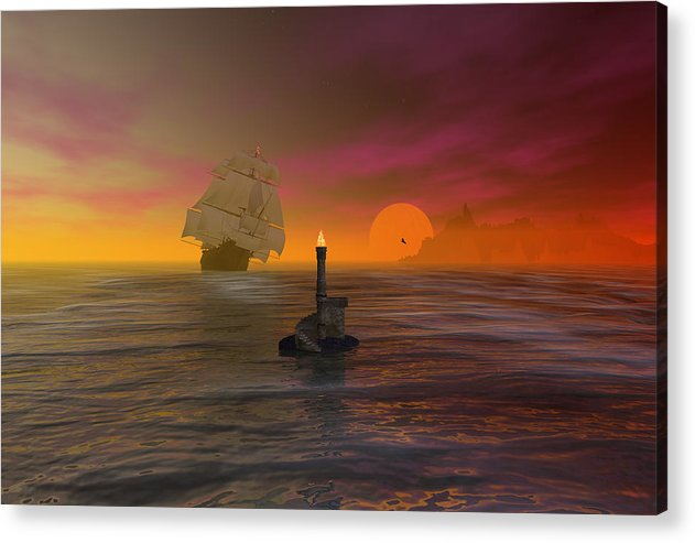 Bryce Acrylic Print featuring the digital art The Hazard Marker by Claude McCoy
