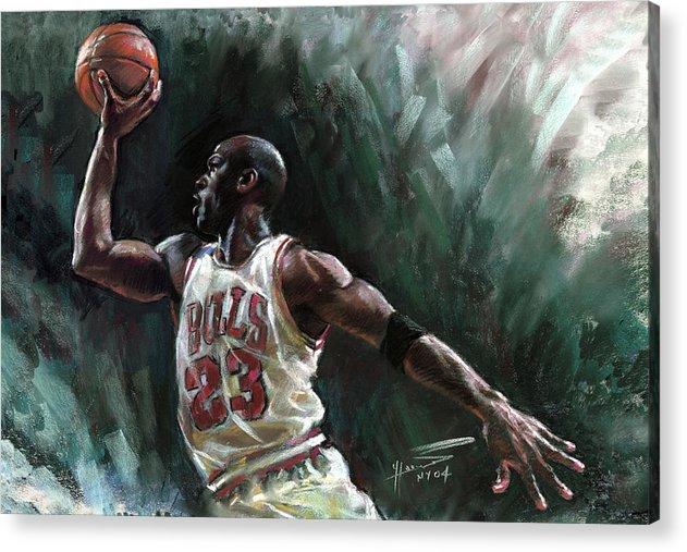 Michael Jordan Acrylic Print featuring the pastel Michael Jordan by Ylli Haruni
