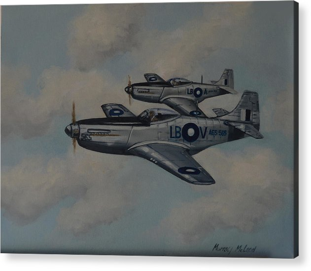 Aviation Art Acrylic Print featuring the painting Mustang Duo by Murray McLeod