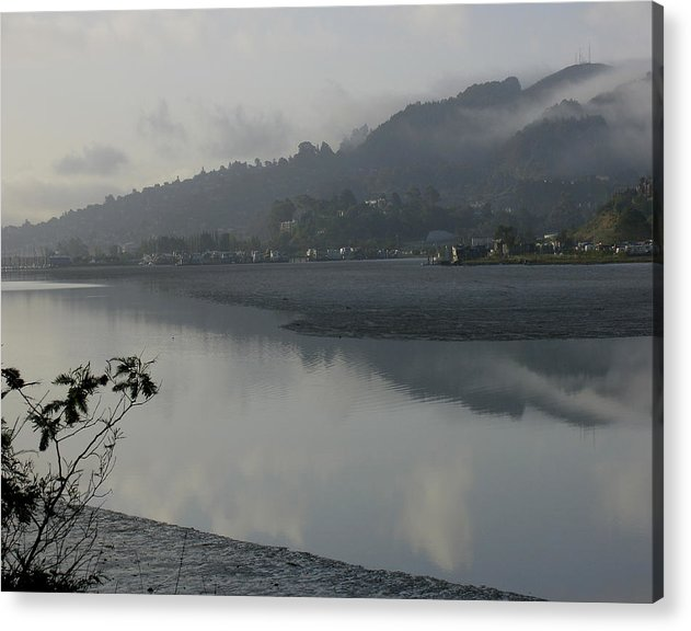 Landscape.west Sausalito.reflection.fog. Acrylic Print featuring the photograph Morning Fog by Vari Buendia