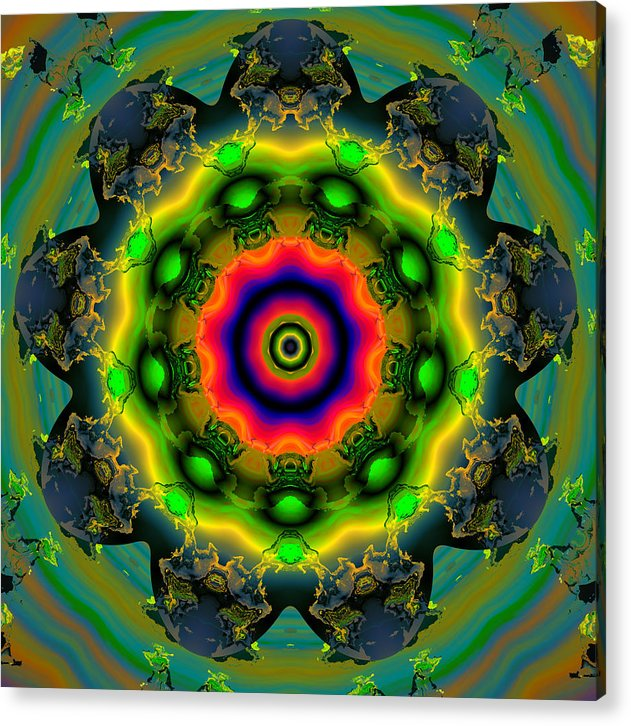 Abstract Colorful Algorithmic Digital Contemporary Acrylic Print featuring the digital art Ocf 479 by Claude McCoy