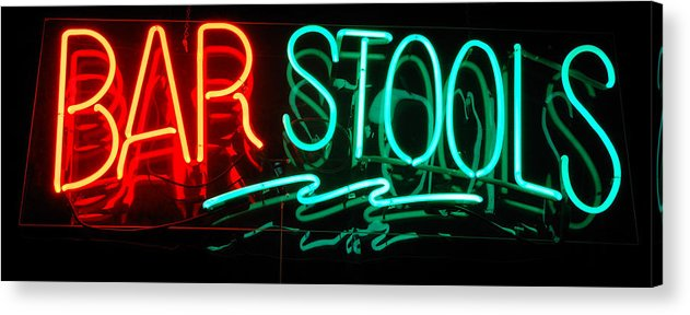 Neon Acrylic Print featuring the photograph Neon Bar Stools by Steven Milner