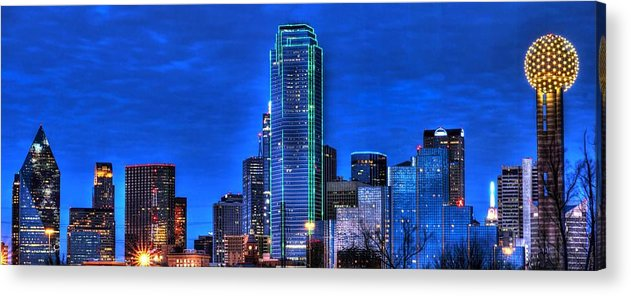 Dallas Acrylic Print featuring the photograph Dallas Skyline Hd by Jonathan Davison