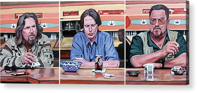 The Big Lebowski Acrylic Print featuring the painting Pause For Reflection by Tom Roderick
