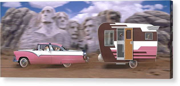Family Vacation Acrylic Print featuring the photograph 1950s Family Vacation Panoramic by Mike McGlothlen