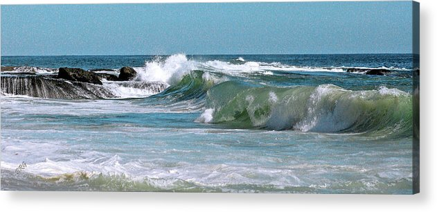 Blue Acrylic Print featuring the photograph Stormy Lagune - Blue Seascape by Ben and Raisa Gertsberg