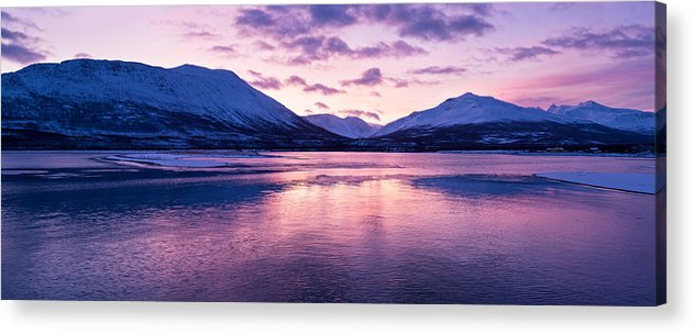 Beautiful Acrylic Print featuring the photograph Twilight Above A Fjord In Norway With Beautifully Colors by Ulrich Schade