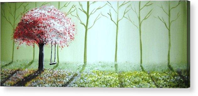 Fantasy Acrylic Print featuring the painting Fantasy Garden by Edwin Alverio